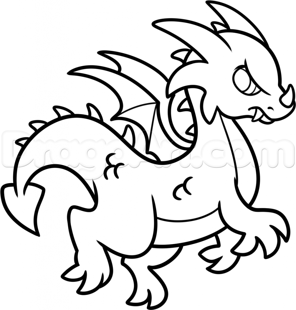 979x1024 Simple Dragon Drawing