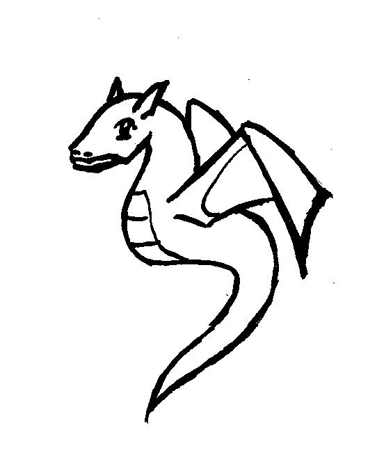 542x654 Simple Dragon Outline