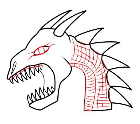 447x396 How To Draw A Dragon, Dragon's Head