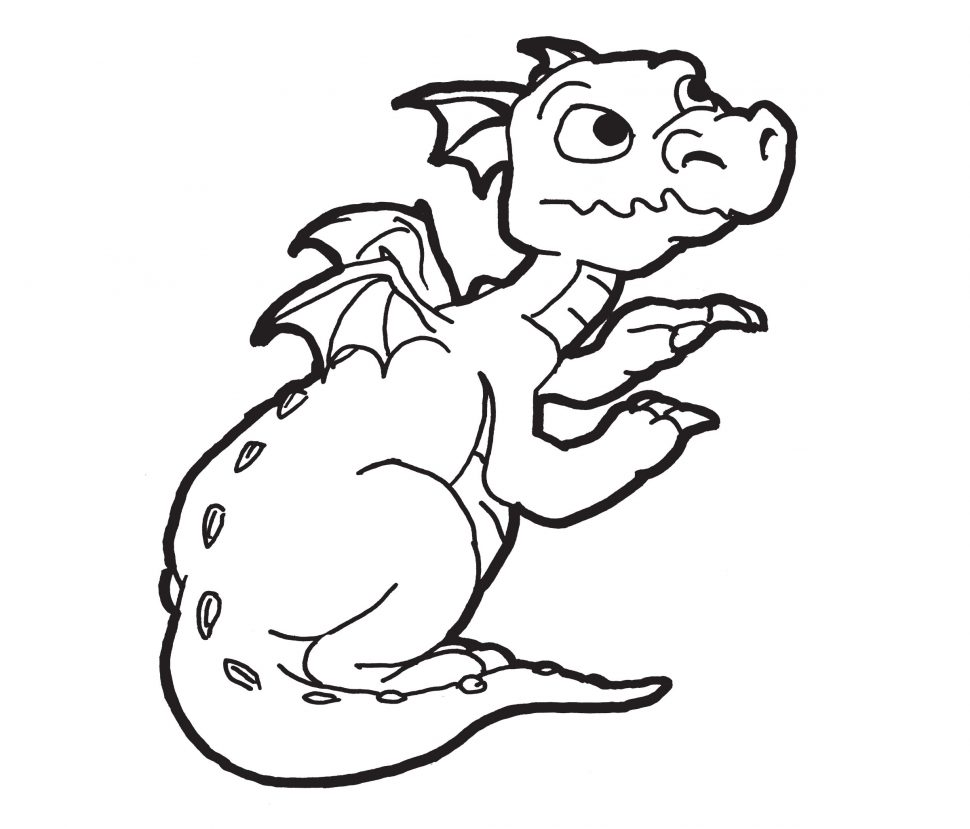 970x829 Coloring Pages Surprising Coloring Pages Draw A Simple Dragon