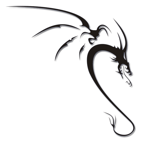 600x604 Simple Tribal Dragon Tattoo Design By Tattooflash