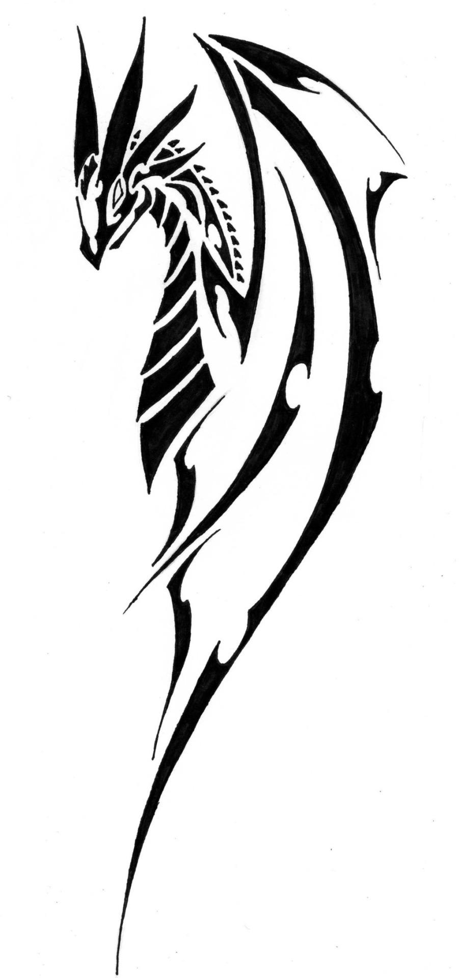 901x1920 Simple Tribal Dragon Tattoos