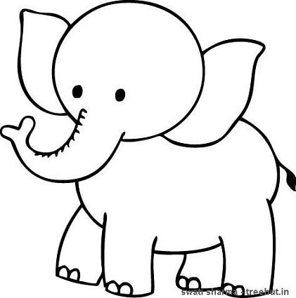 421x425 Elephant Outline Coloring Pages