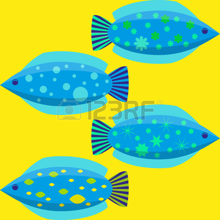 450x450 Set Of The Simple Flat Fishes Decorated By Patterns. Vector