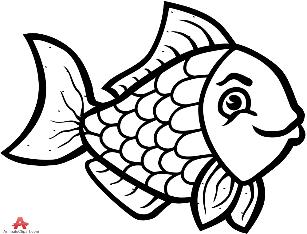 999x764 Beautiful Fish Clipart Outline Design In Black And White Free