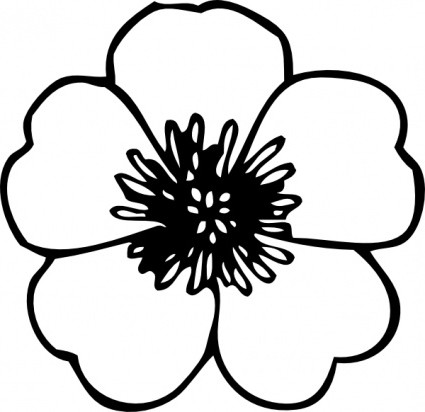 425x412 Simple Black And White Flower Clipart