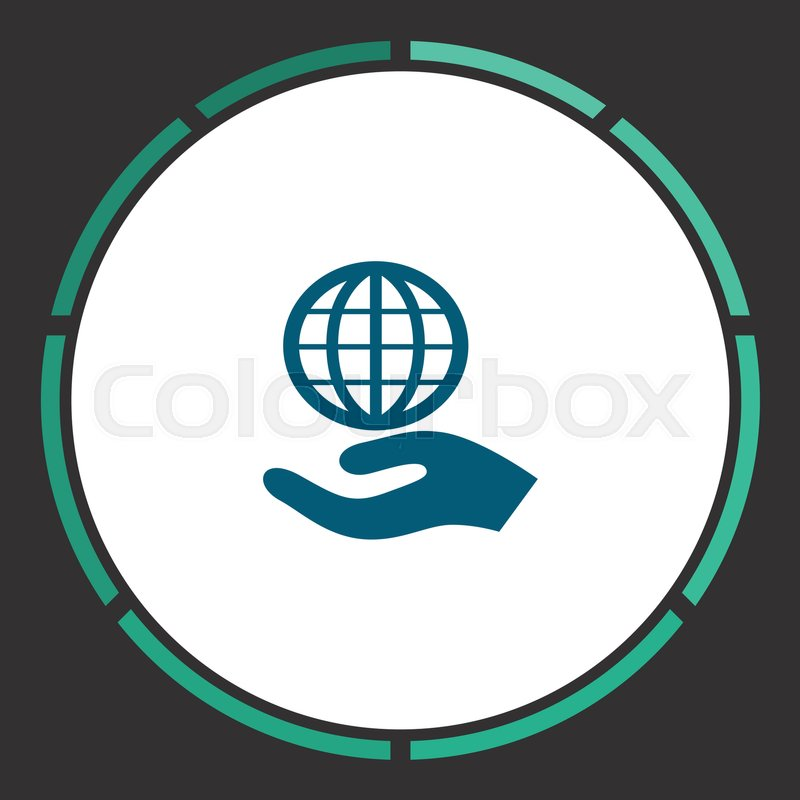 800x800 Globe Palm Icon Vector. Flat Simple Blue Pictogram In A Circle