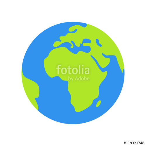 500x500 Isolated Planet Earth On White Background. Simple Flat World Globe