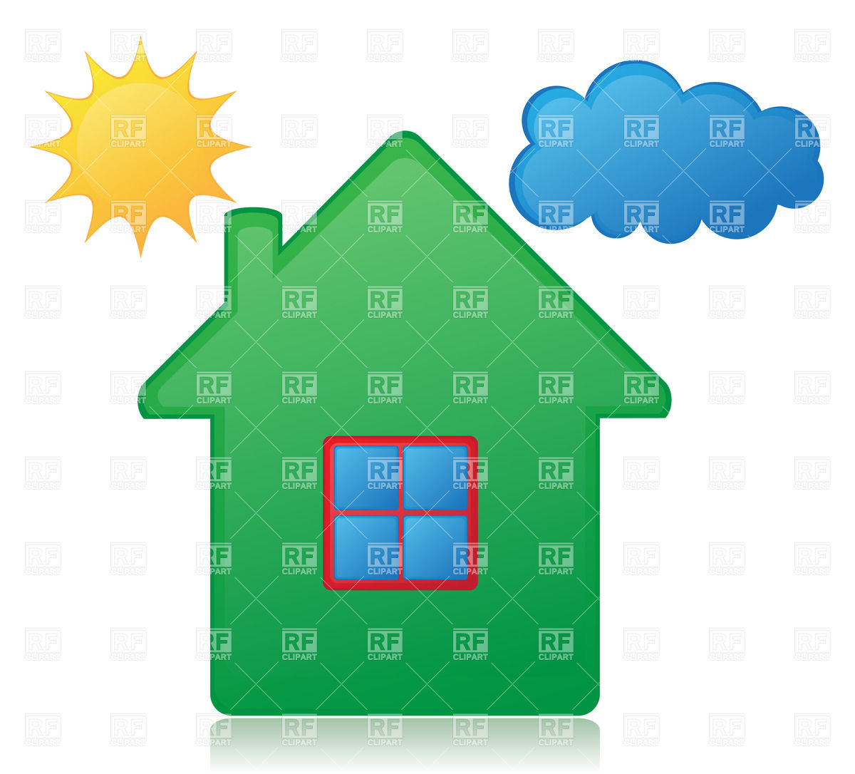 1200x1086 Simple House, Sun And Cloud Royalty Free Vector Clip Art Image