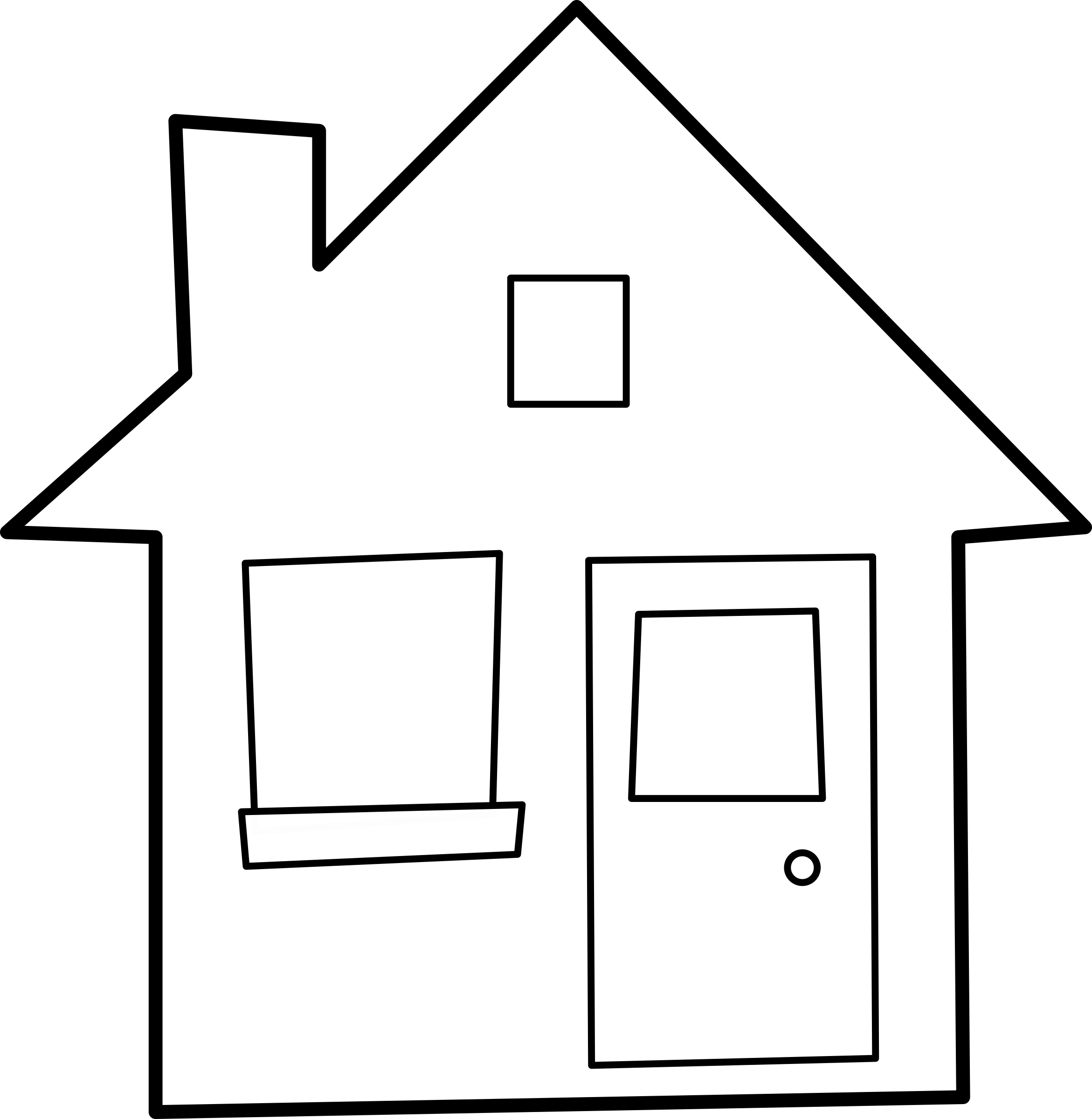 2342x2400 House Black And White Simple Black House Clip Art