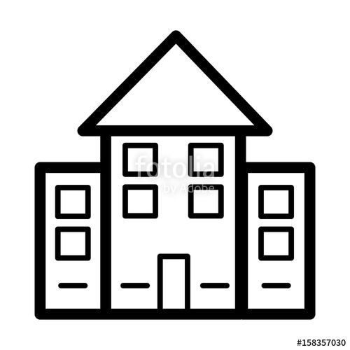 500x500 House Simple Vector Icon. Black And White Illustration Of Real