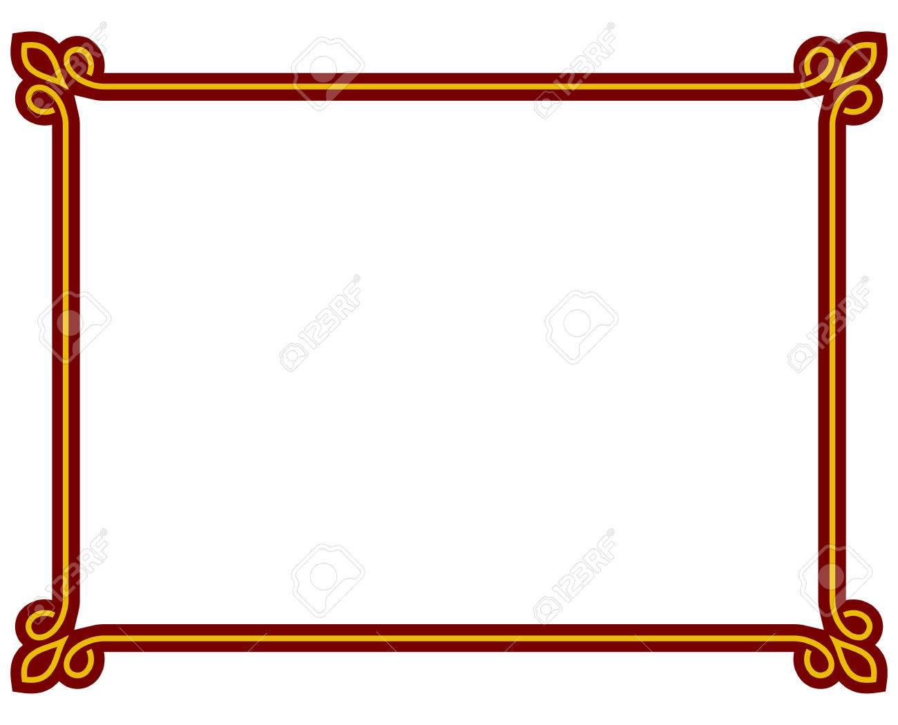 1300x1050 Red Border Frame Deco Plaque. Vector Art Simple Line Corner