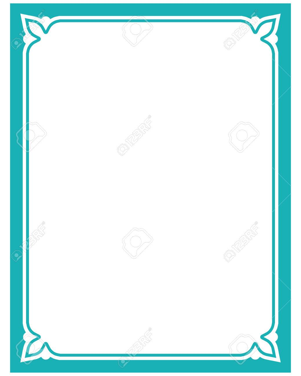 1039x1300 Blue Turquoise Border Frame Deco Vector Label Simple Line Corner