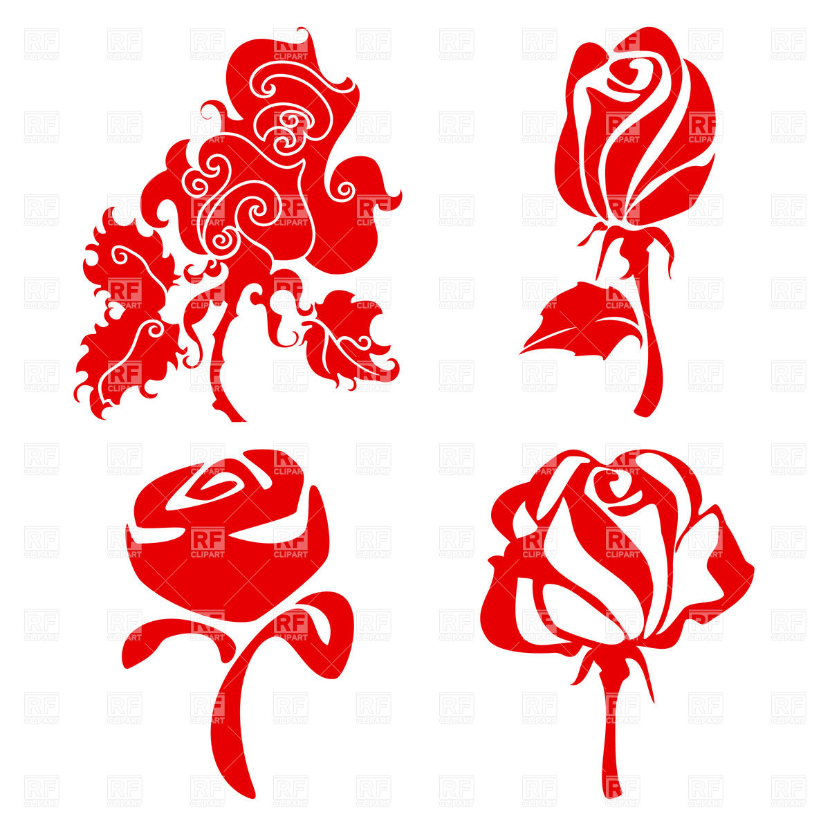1200x1200 Simple Rose Flower Sketch In Different Styles Royalty Free Vector