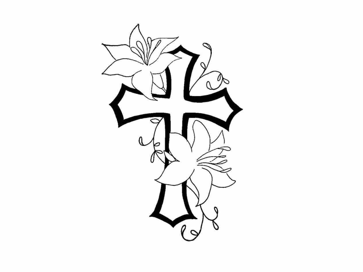 1264x948 Draw A Cross With A Banner And Rose Simple Rose Drawing Images