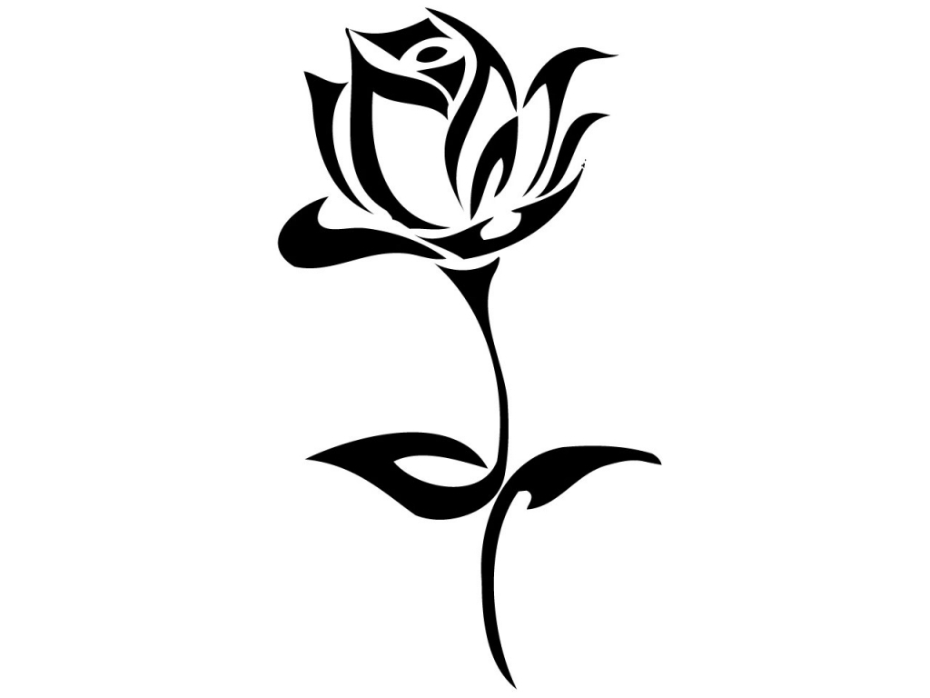 1024x768 Simple Rose Drawings In Black And White
