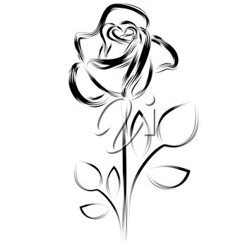 350x350 Clipart Illustration Of A Simple Rose Image
