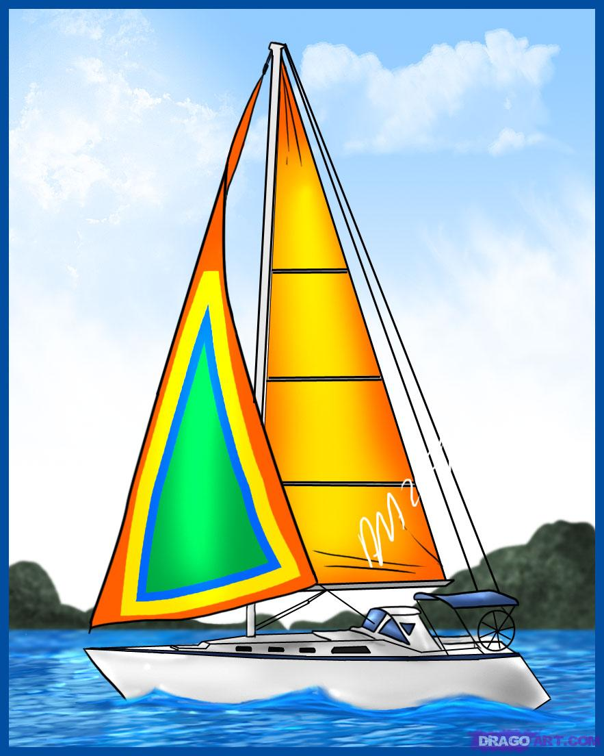 883x1104 Learn How To Draw A Sailboat, Boats, Transportation, Free Step By