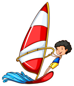 259x300 A Simple Drawing Of A Boy Sailing On A White Background Royalty