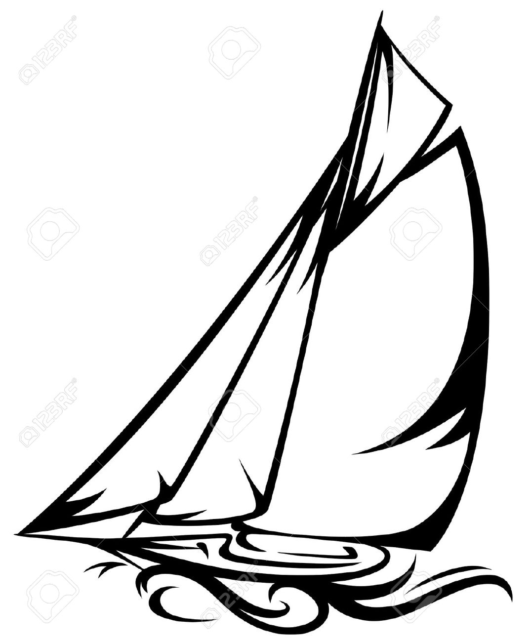 1075x1300 Sailing Boat Clipart Line Drawing