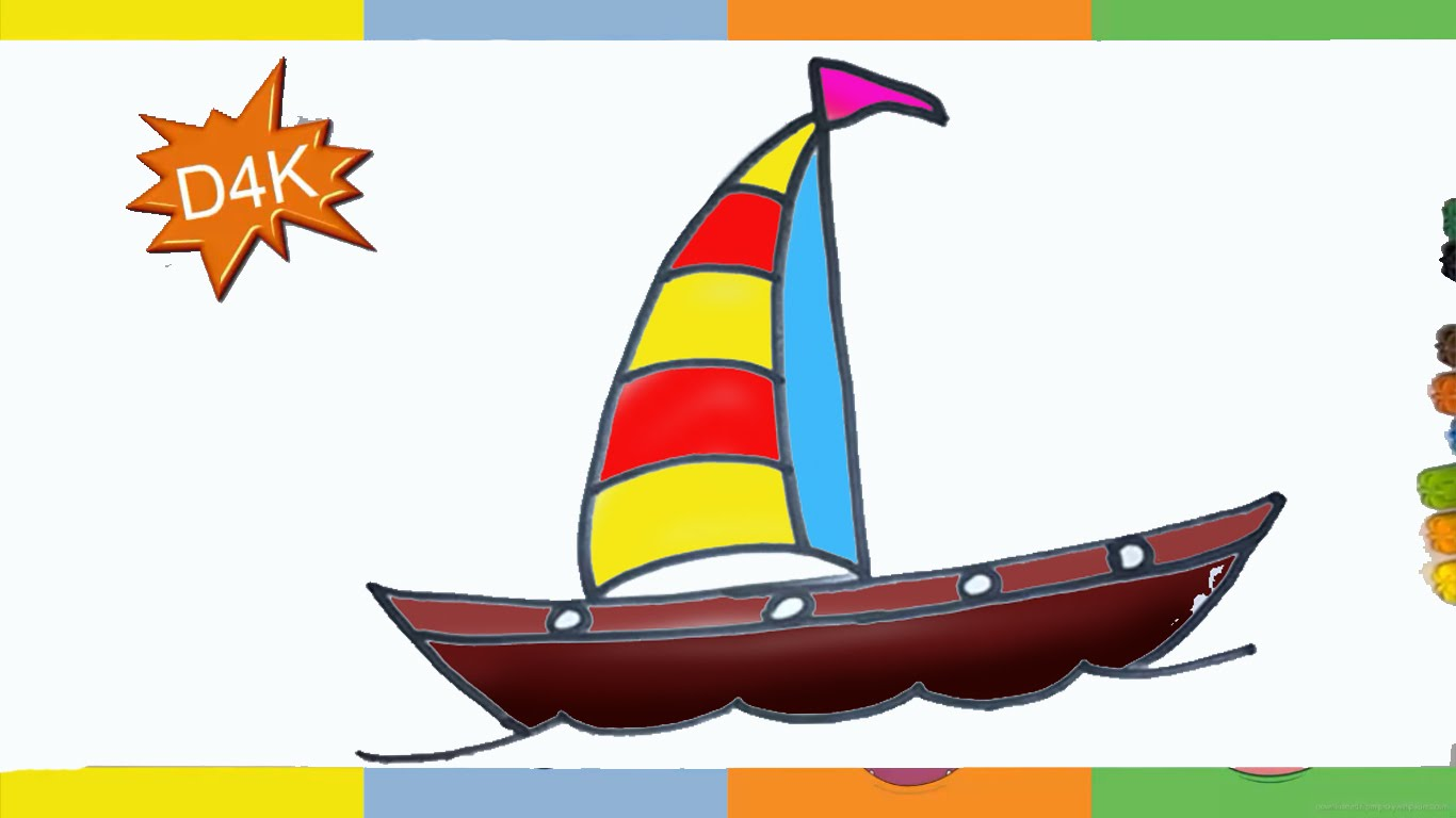 1366x768 How To Draw Sailboat Step By Step For Kids Easy For Biginer