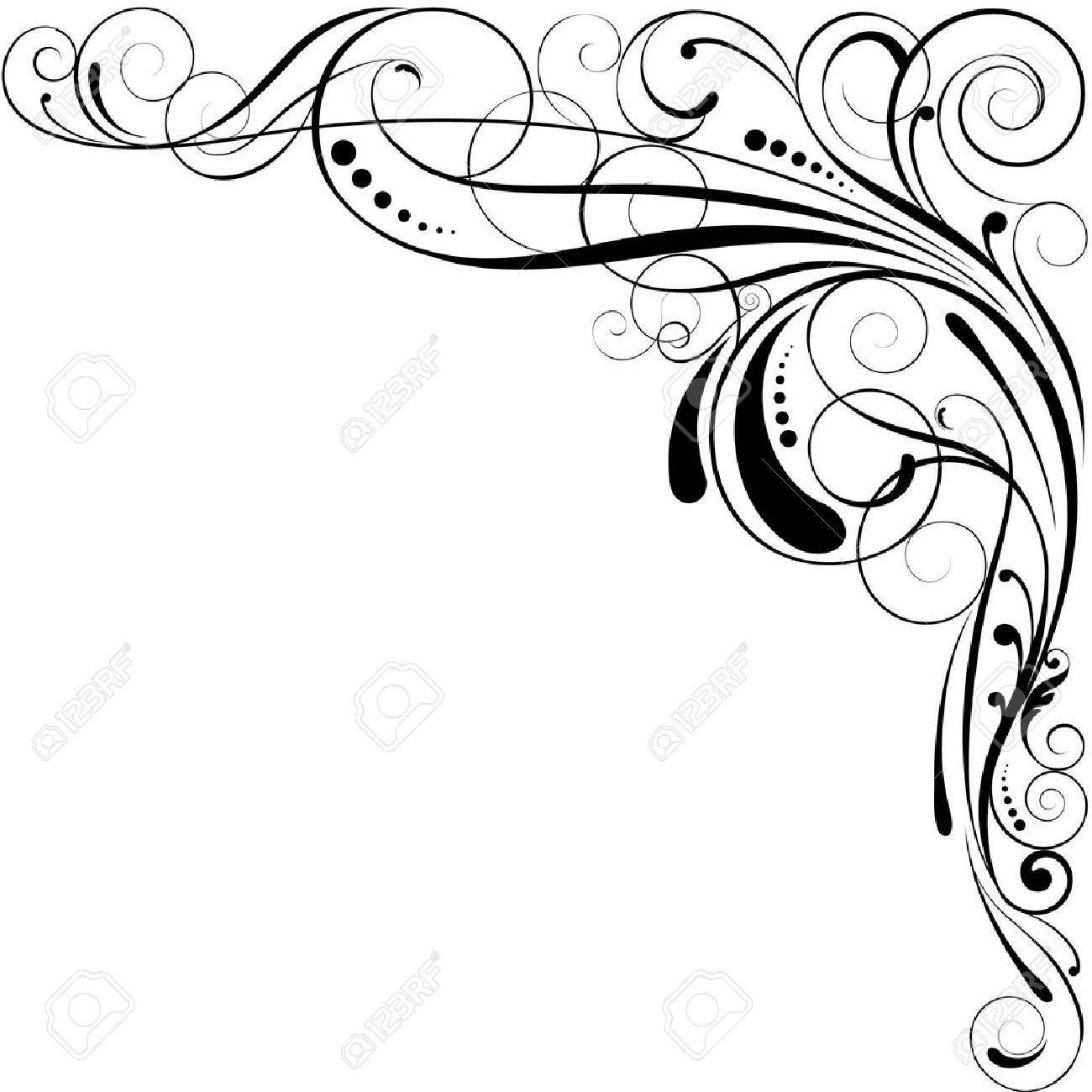 1300x1300 Simple Line Designs Swirls. Vector Victorian Ornamental Swirls