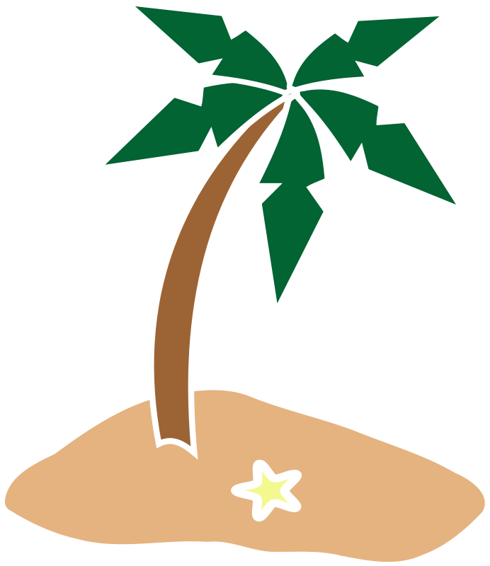 692x800 Free Simple Island With Palm Tree Clip Art