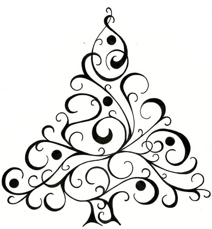 736x796 Drawn Christmas Tree