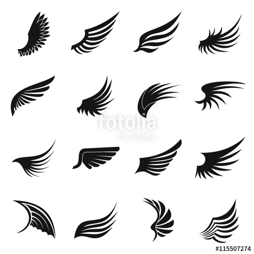 500x500 Wing Icons Set In Simple Ctyle. Birds And Angel Wings Set