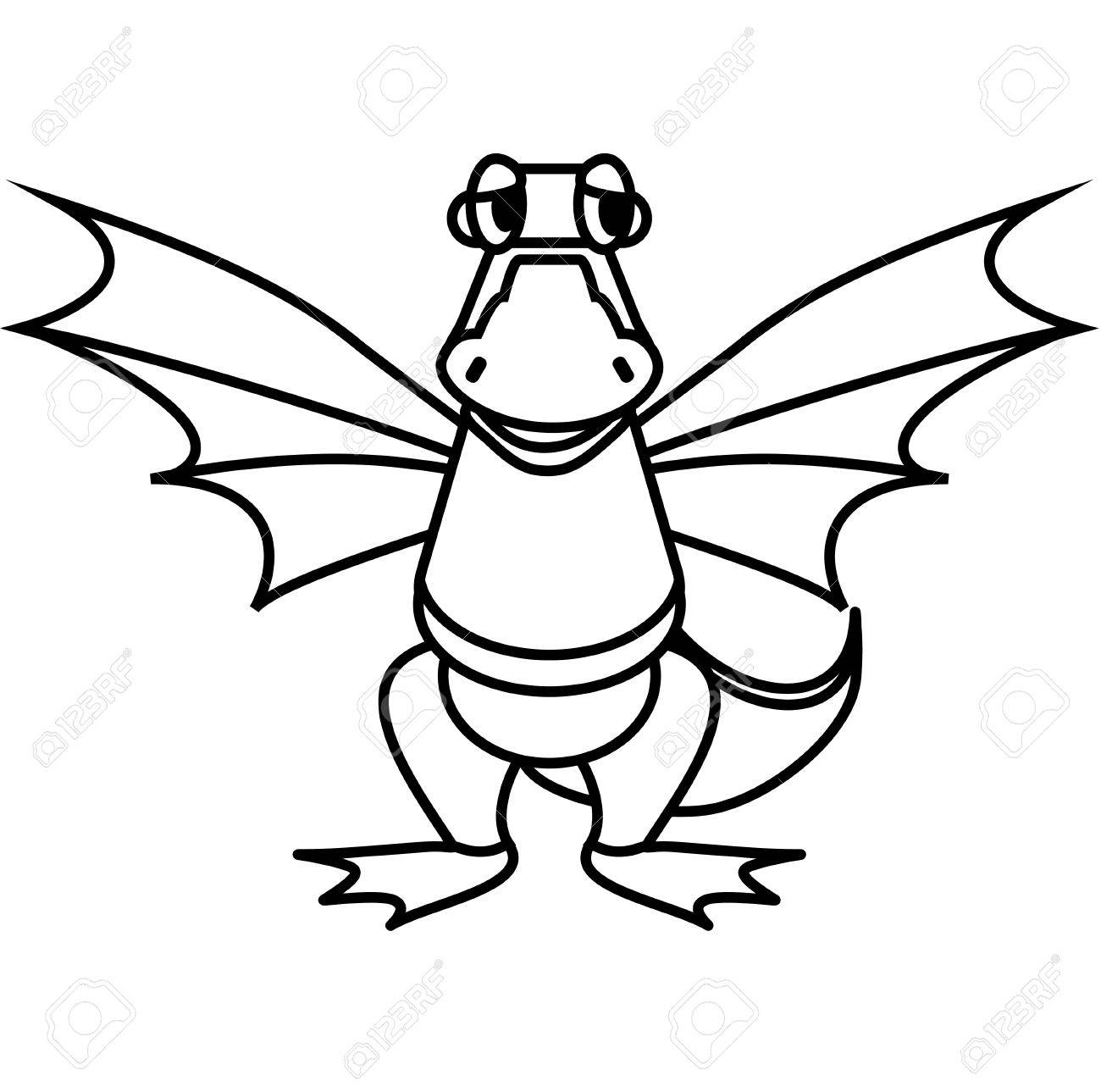 1300x1289 Simple Line Drawing. Kind Dragon Royalty Free Cliparts, Vectors
