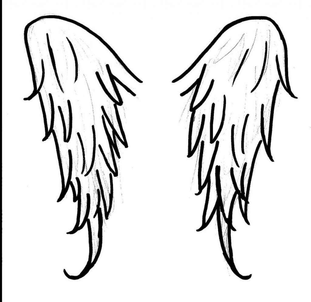1024x996 Simple Angel Wings Drawing 14 Pics Of Coloring Pages Cross