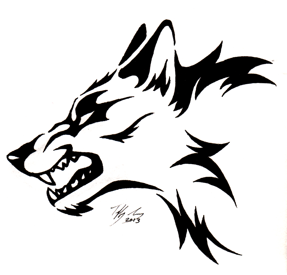 1000x960 Drawn Howling Wolf Stencil Art