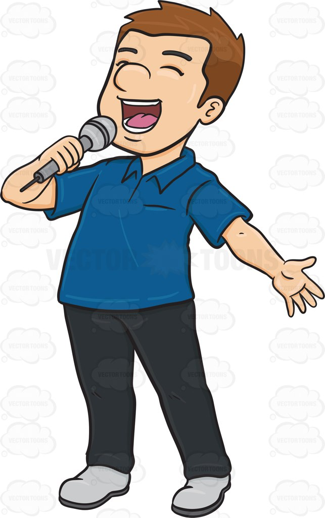 643x1024 A Man Singing Cheerfully Into A Microphone Cartoon Clipart
