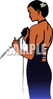 189x350 Beautiful Black Woman Singing Clip Art