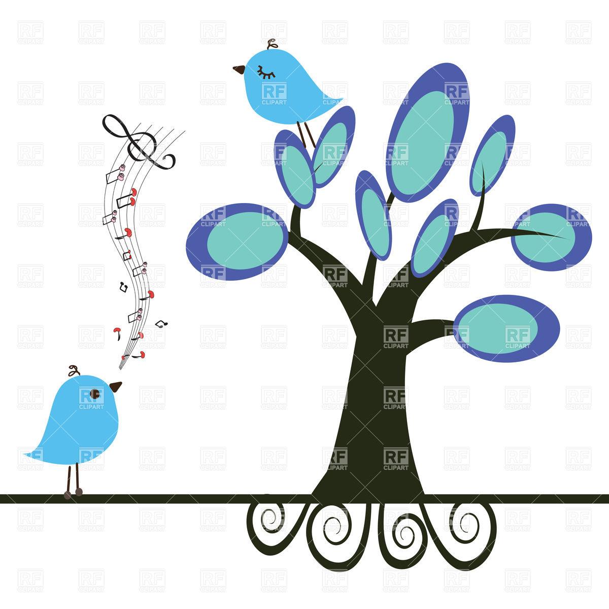 1200x1200 Singing Bird And Blue Bird On Tree Royalty Free Vector Clip Art