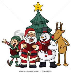 294x300 Christmas Characters Singing Christmas Carols Clip Art Image