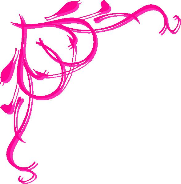 588x598 Pink Flower Border Pink Heart Border Clip Art