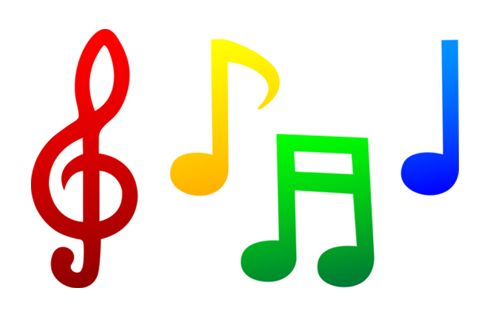 500x333 Coloured Single Music Notes