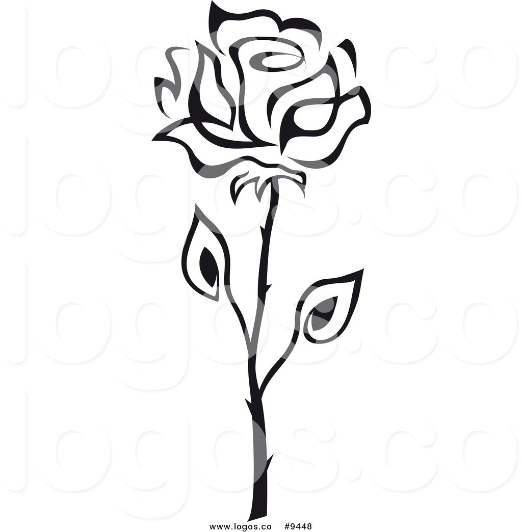 1024x1044 Vector Logo Of A Black And White Single Rose By Vector Tradition