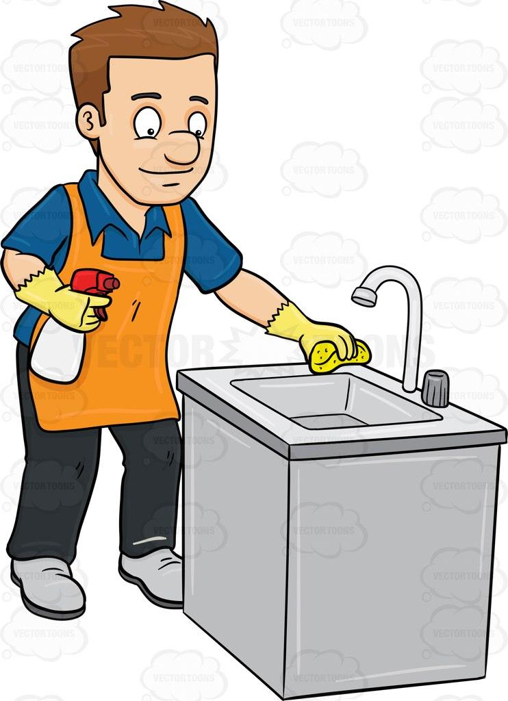 742x1024 A Man Polishing The Kitchen Sink