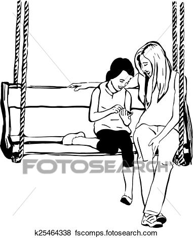 381x470 Clip Art Of Older Sister To Her Younger Sister On A Wooden Swing