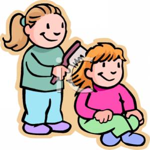 299x300 Colorful Cartoon Of A Sister Combing Her Younger Sisters Hair