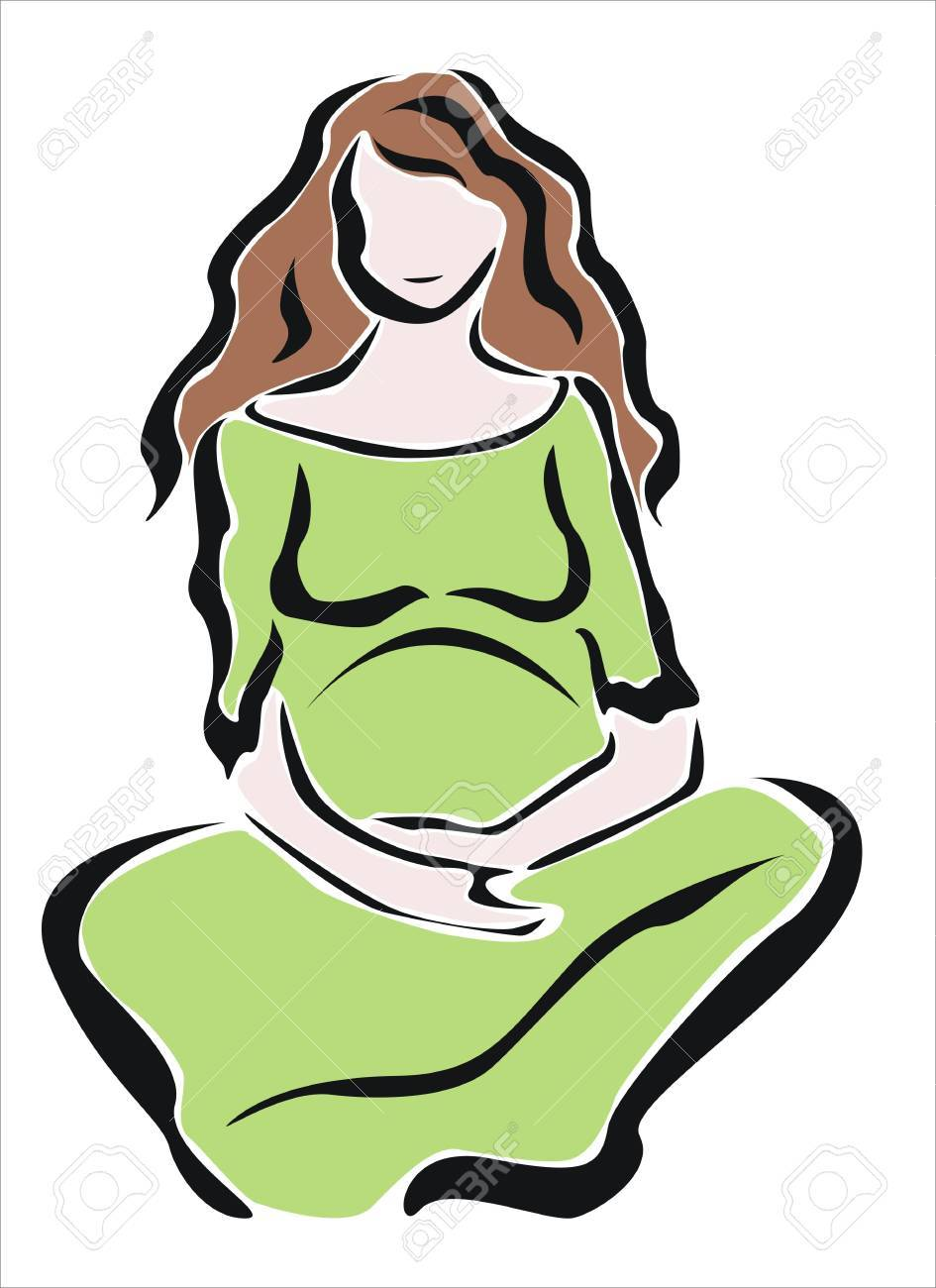 945x1300 Pregnant Woman Sitting Quietly Royalty Free Cliparts, Vectors,