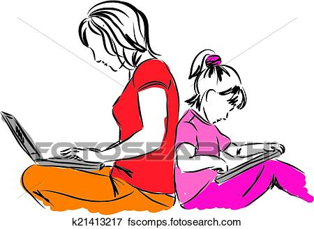 450x329 Clip Art Of Mom And Daughter Sitting Down With K21413217