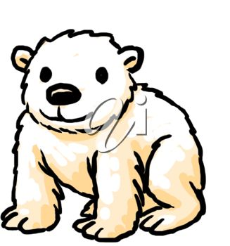 327x350 Picture Of A Baby Polar Bear Sitting Down In A Vector Clip Art
