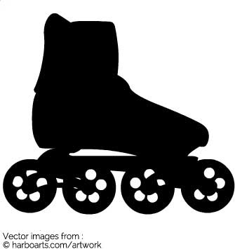 335x355 Vector Silhouette Of Inline Skates. Inline Skates Allows Greater