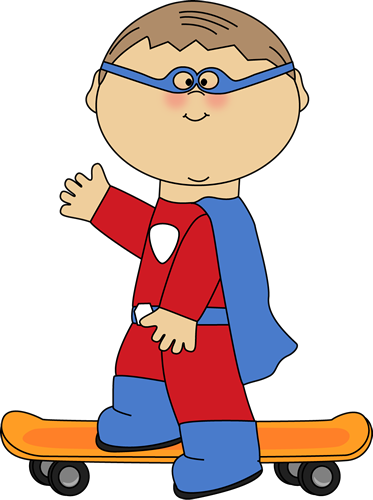 373x500 Boy Superhero on a Skateboard Clip Art
