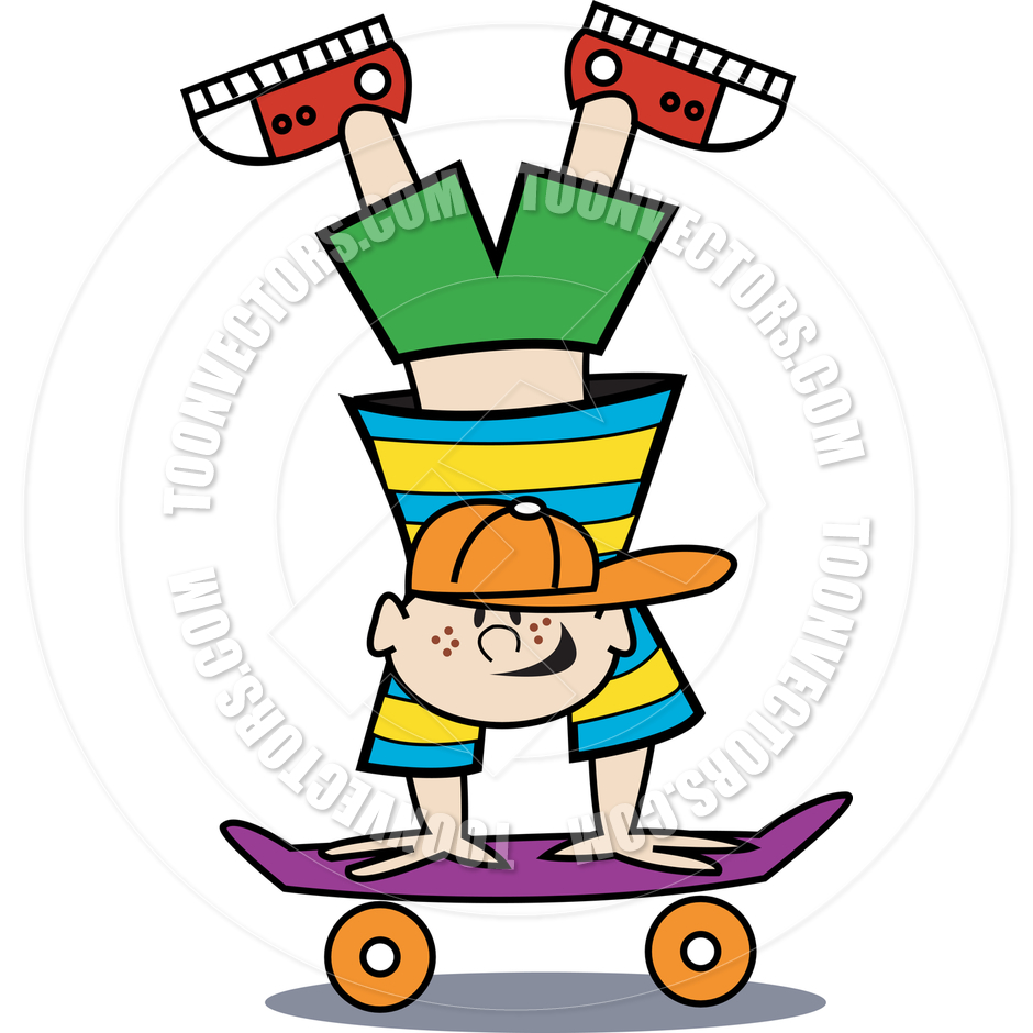 940x940 Cartoon Boy Skateboard Vector Illustration by Clip Art Guy Toon