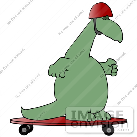 450x450 Clip Art Graphic of a Green Dinosaur Skateboarding On A Red