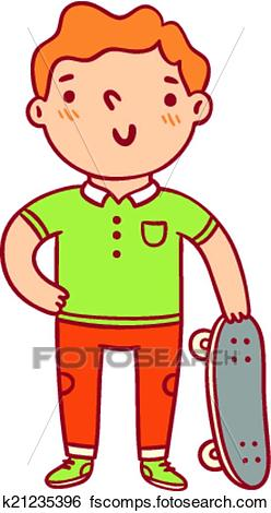 248x470 Clip Art of Little boy with skateboard cartoon character k21235396